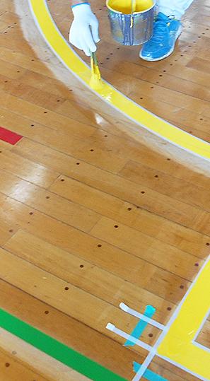バスケットゴールコート新ルール変更工事