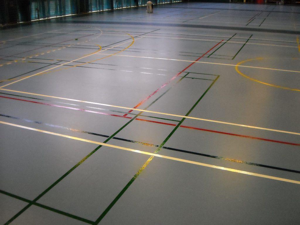 豊島区Mスポーツセンター体育館スポーツシート床ライン引き工事